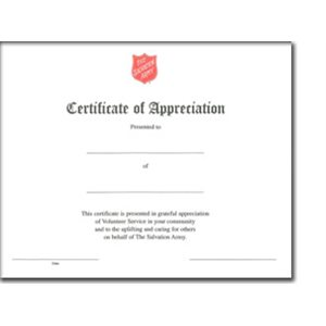 CERT APPRECIATION / VOL SER