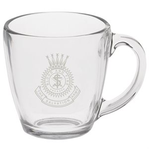 Glass Bistro Mug with Etched Crest
