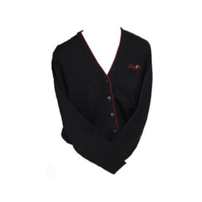WOMENS CARDIGAN, NAVY w /  BURGUNDY PIPING