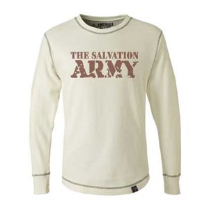 White Long Sleeve Thermal Shirt with The Salvation Army Bold Imprint