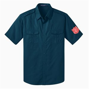 Men's Short Sleeve Ultra Blue Button Up Shirt