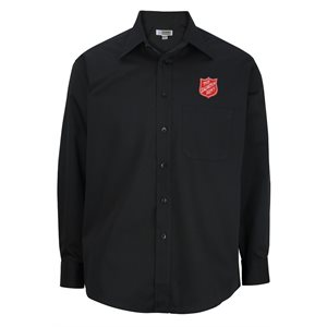 Men's Long Sleeve Black Shirt With Shield Embroidery