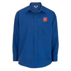 Men's Long Sleeve Royal Blue Shirt With Shield Embroidery