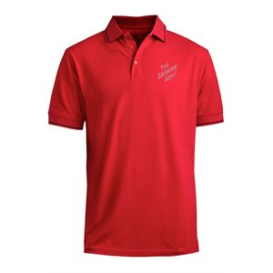 Red Polo Shirt With The Salvation Army Embroidery and Black Trim
