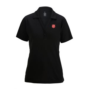 Ladies Black Polo Shirt with Red Shield Embroidery