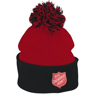Pom-Pom Red Striped Winter Hat with Shield Embroidery