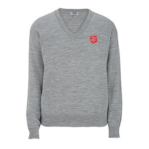 Frost Grey V-Neck Sweater with Shield Embroidery