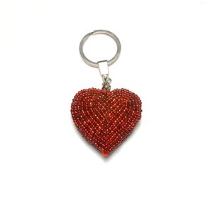 Beaded Red Heart Keyring