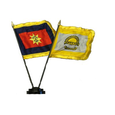 Blood & Fire and Sunbeam Mini Flag Set w / Base