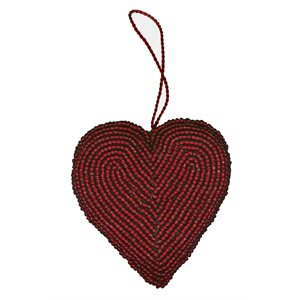Beaded heart decoration (Red) Pakistan