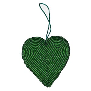 Beaded heart decoration (Green) Pakistan