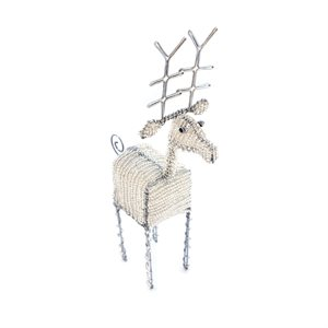 Beaded Silver Reindeer Small