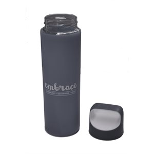 Embrace h2go Glass Bottle 18 oz  Grey