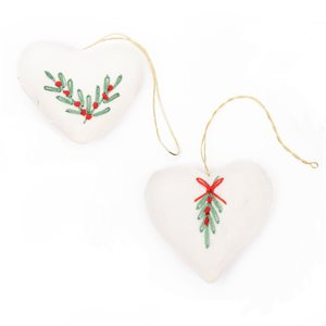 Embroidered Heart SM white / pkg of 2 Bangladesh