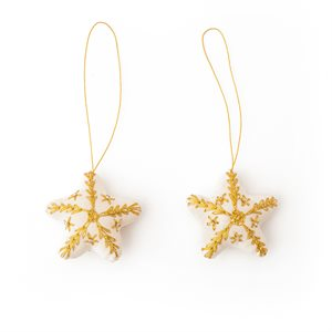Stars emb white w / gold and silver beads Bangladesh