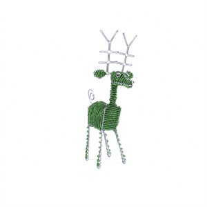 Beaded Green Reindeer Small