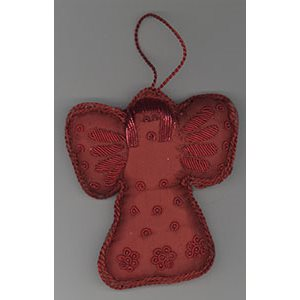 Embroidered Red Angel Ornament