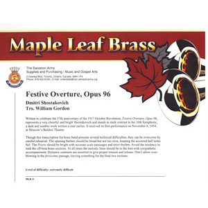 Maple Leaf Brass #11 - Festive Overture, Opus 96