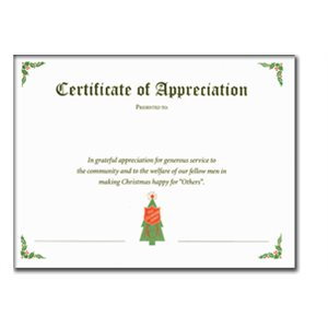 CERT GREEN APPRECIATION