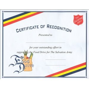 Food Drive Cert (New with Grocery Bag)