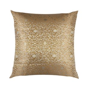 BROCADE:: SMALL FLOWER TURQ / GRY / GOLD CUSHION COVER