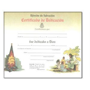 Dedication Cert Children / Jesus Spanish