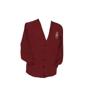 Burgundy Unisex Cardigan Sweater with Crest Patch